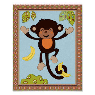 Curly Tails -Jumping Monkey Nursery/Kids Art Print