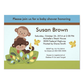 "Curly Tails Monkey Baby Shower Invitation 5"" X 7"" Invitation Card"