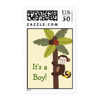 Curly Tails Monkey Custom Postage Stamps