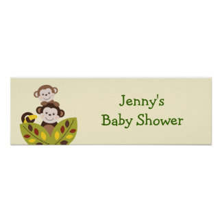 Curly Tails Monkey Jungle Baby Shower Banner Sign Poster
