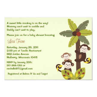 "Curly Tails Monkey Jungle Baby Shower Invitations 5"" X 7"" Invitation Card"
