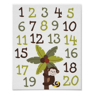 Curly Tails Monkey Numbers Nursery Wall Art Print
