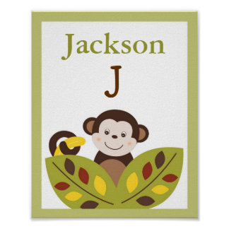 Curly Tails Monkey Nursery Wall Art Name Print