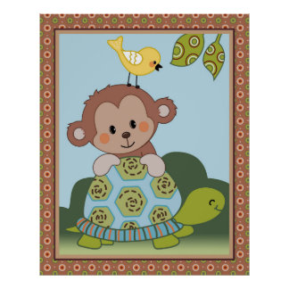 Curly Tails -  Monkey, Turtle and Bird Kids Art Poster