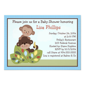 Curly Tails Monkeys Baby Shower Invitation