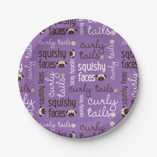 Curly Tails Squishy Faces Fun Type Design Party Paper Plate