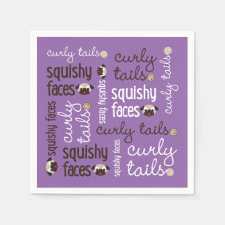 Curly Tails, Squishy Faces Pug Type Paper Napkin
