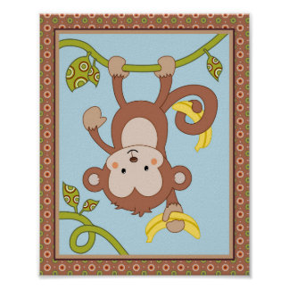 Curly Tails - Upside-down Monkey Kids Art Print