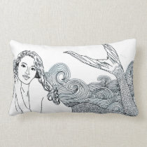 """Curly Wave"" Mermaid Designer Decor Pillow"