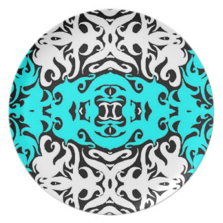 CurlyQ Damask Graphic Art Designer Wall Decor Aqua Dinner Plate