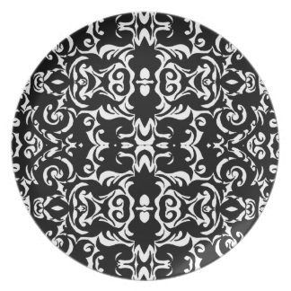 CurlyQ Damask Graphic Art Designer Wall Decor B/W Dinner Plate