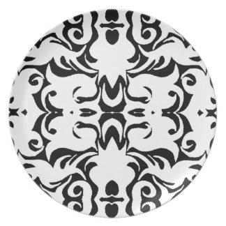 CurlyQ Damask Graphic Art Designer Wall Decor B/W Plates
