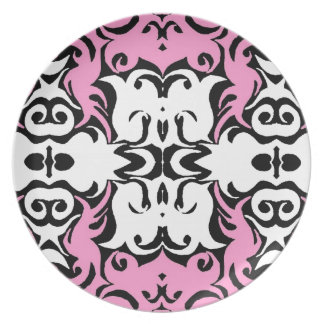 CurlyQ Damask Graphic Art Designer Wall Decor Pink Party Plate