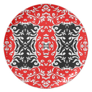 CurlyQ  Damask Graphic Art Designer Wall Decor Red Party Plates