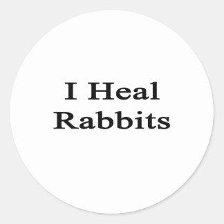 Curo conejos etiqueta redonda