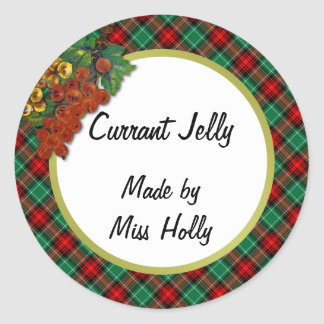 Currants Green Red Holiday Plaid Custom Recipe Tag