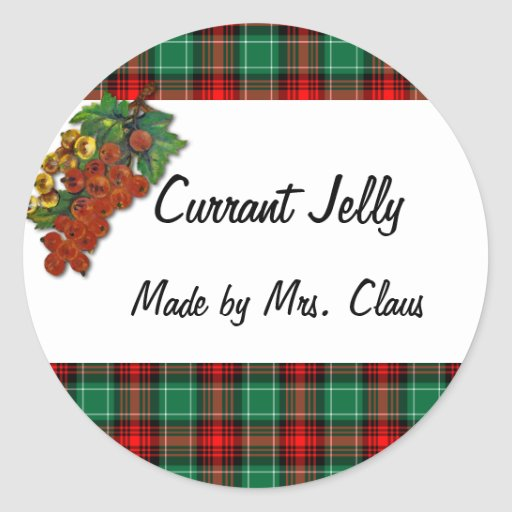 Currants Green Red Plaid Custom Holiday Recipe Lab Classic Round Sticker
