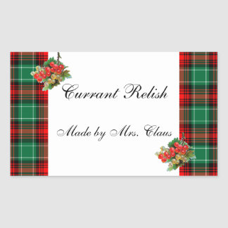 Currants Green Red Plaid Custom Holiday Recipe Rectangular Sticker