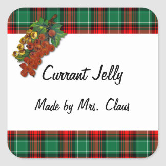 Currants Green Red Plaid Custom Holiday Recipe Tag