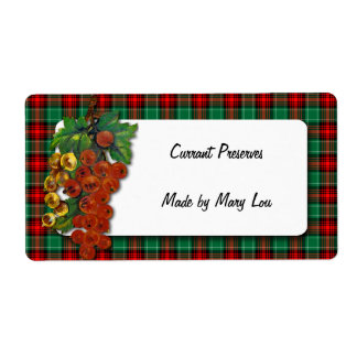Currants Red Green Plaid Holiday Recipe Label