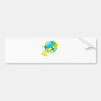 Currencies signs globe concept bumper stickers