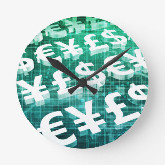 Currency Exchange as a Concept in 3d Round Clock
