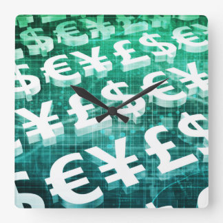 Currency Exchange as a Concept in 3d Square Wall Clock