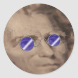 Currency in sunglasses classic round sticker