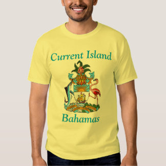 Current Island, Bahamas with Coat of Arms T Shirt