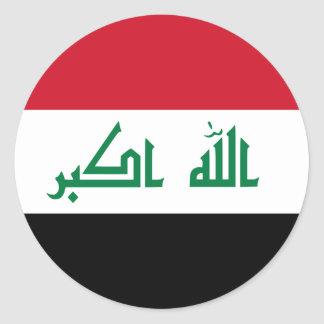 Current National Flag of Iraq Classic Round Sticker