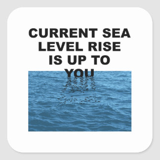 Current sea level rise is up to you square sticker