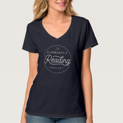 Currently Reading Navy V_Neck T_Shirt