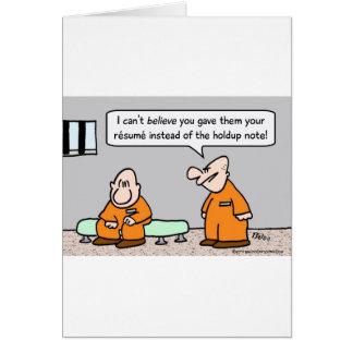curriculum vitae del preso en vez de la nota de la tarjeta de felicitación