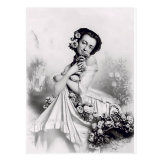 Currie & Ives Lady with roses Postcard