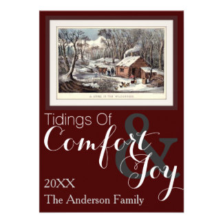 Currier and Ives A Home in the Wilderness Custom Invitation
