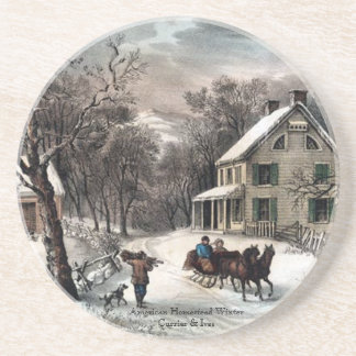 Currier & Ives - Coaster - Homestead Winter