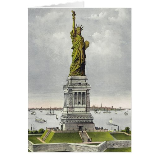 Currier & Ives - Greeting Card - Statue of Liberty
