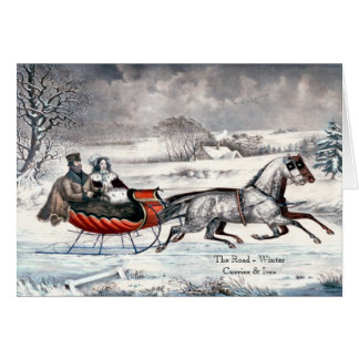 Currier & Ives - Greeting Card - The Road, Winter