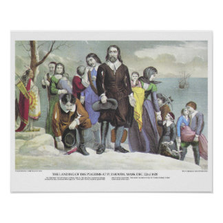Currier & Ives Lithograph: Landing Pilgrims Poster