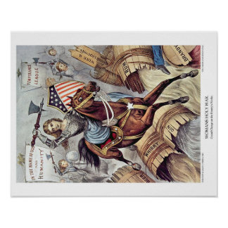 Currier & Ives Lithograph: Womans Holy War Poster