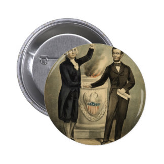 [Currier & Ives portrait of Washington and Lincoln Buttons