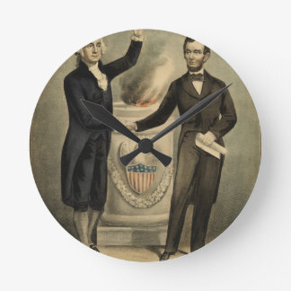 [Currier & Ives portrait of Washington and Lincoln Clocks