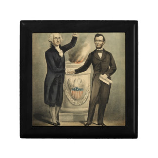 [Currier & Ives portrait of Washington and Lincoln Gift Box