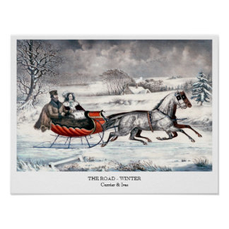 Currier & Ives - Poster -  THE ROAD, WINTER