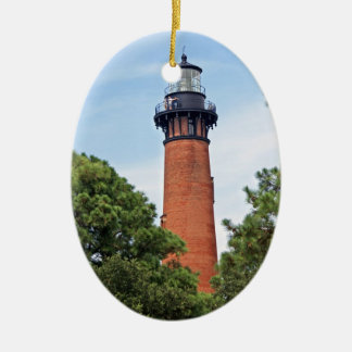 Currituck Lighthouse Double-Sided Oval Ceramic Christmas Ornament