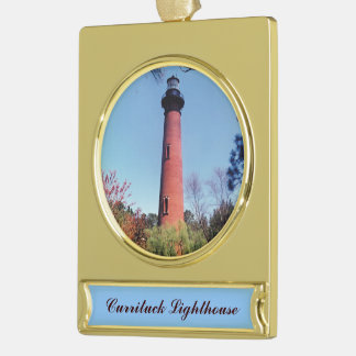 Currituck Lighthouse Gold Plated Banner Ornament