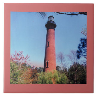 Currituck Lighthouse Large Square Tile