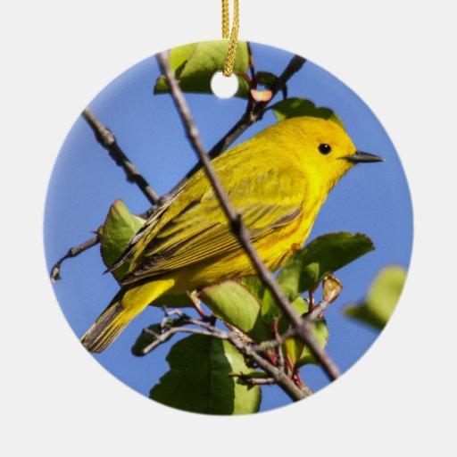 Curruca amarilla adorno navideño redondo de cerámica