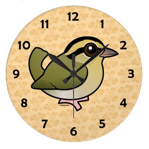 Curruca de la Gusano-consumición de Birdorable Reloj Redondo Grande
