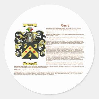 Curry (meaning(irish) classic round sticker